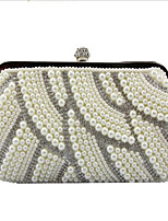 Women Bags Polyester Evening Bag Buttons Pearl Detailing for Casual All Season White Black Beige