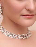 Femme Boucles d'oreille goutte Collier Strass Classique Mariage Soirée Imitation de perle Imitation Diamant Alliage Forme Géométrique 1