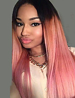 Women Synthetic Wig Capless Middle Part Long Ombre Pink Straight Hair Costume Wig