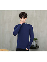 Men's Casual/Daily Active Regular Pullover,Solid Round Neck Long Sleeve Cotton Autumn Medium strenchy