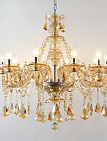 Традиционный/классический Хрусталь Регулируется Свеча Стиль Люстры и лампы Рассеянное освещение Назначение Гостиная Спальня кафе