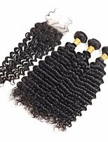 cheap -Remy Brazilian Natural Color Hair Weaves Trendy Deep Wave Hair Extensions 4pcs Black