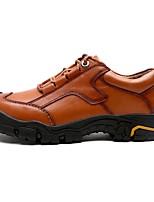 baratos -Masculino sapatos Pele Real Primavera Outono Conforto Tênis Para Casual Preto Marron