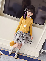 Girl's Daily Going out Solid Dress,Cotton Fall Long Sleeves Casual Red Blushing Pink Yellow Light Blue