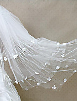 cheap -Four-tier Cut Edge Modern Wedding Veil Cathedral Veils Headpiece 53 Applique Rhinestones Tulle