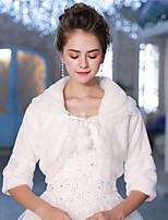 3/4 Length Sleeves Faux Fur Wedding Party / Evening Women's Wrap With Laces Lace-up Pom-pom Shrugs