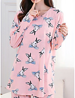 Nuisette & Culottes Pyjamas Femme,Imprimé Imprimé Polyester Rose Claire
