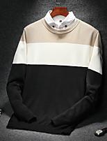 Для мужчин На каждый день Большие размеры Простой Обычный Пуловер Полоски,Круглый вырез Длинный рукав Хлопок Зима Осень Средняя