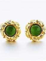 Damen Ohrstecker Tropfen-Ohrringe Onyx Formell Asiatisch Klassisch Geschenk vergoldet Schmuck Für Hochzeit Party Verlobung Zeremonie