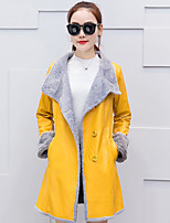 Women's Plus Size Casual/Daily Vintage Street chic Fall Winter Trench Coat,Solid Stand Long Sleeve Long PU Cotton
