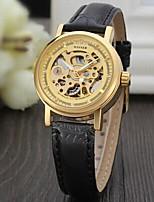 abordables -WINNER Mujer Reloj de Moda Reloj de Vestir Reloj de Pulsera Cuerda Automática Huecograbado Piel Banda Vintage Casual Elegant Negro