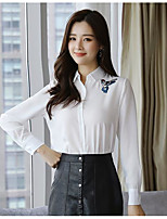 Women's Daily Vintage Shirt,Solid Shirt Collar Long Sleeves Cotton Acrylic Others