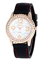 Femme Montre Décontractée Montre Habillée Montre Bracelet Chinois Quartz Imitation de diamant Silikon Bande Rétro Décontracté Blanc Rouge