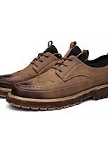 Для мужчин обувь Искусственное волокно Весна Осень Удобная обувь Туфли на шнуровке Назначение Повседневные Черный Коричневый Темно-русый
