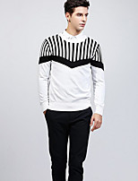 Men's Work Regular Pullover,Print Round Neck Long Sleeves Cotton Medium Micro-elastic