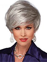 Women Synthetic Wig Capless Short Straight Silver Side Part Natural Hairline With Bangs Natural Wigs Costume Wig