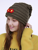cheap -Women's Acrylic Roman Knit Floppy HatVintage Cute Casual Floral Winter Braided Army Green Wine Orange Black Green
