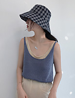 Women's Daily Sexy Tank Top,Solid Round Neck Sleeveless Cotton