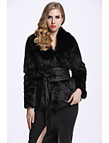 Women's Daily Sophisticated Winter Fall Fur Coat,Solid Long Sleeves Regular Faux Fur
