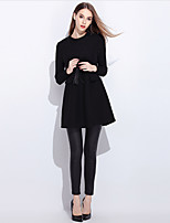 YIYEXINXIANG Women's Daily Casual Sheath Dress,Solid Round Neck Above Knee Long Sleeve Wool Polyester Winter High Waist Micro-elastic Opaque