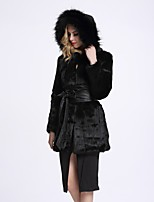 BF-Fur Style Women's Going out Simple Winter Fur Coat,Solid V Neck Long Sleeves Regular Faux Fur