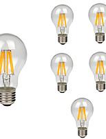 6pcs 8W E27 Ampoules à Filament LED A60(A19) 8 diodes électroluminescentes COB Décorative Blanc Chaud Blanc Froid 760lm 2200-6500K AC