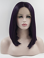 cheap -Women Synthetic Wig Lace Front Short Dark Wine Natural Wigs Costume Wig