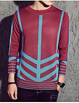 Men's Daily Long Pullover,Print Round Neck Long Sleeves Cotton Medium Micro-elastic