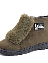 Недорогие -Для женщин Обувь Кашемир Зима Модная обувь Ботинки Круглый носок Сапоги до середины икры Назначение Повседневные Черный Коричневый Зеленый