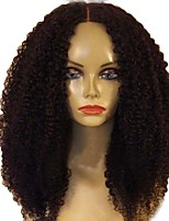 cheap -Women Human Hair Lace Wig Brazilian Human Hair Glueless Full Lace 150% Density With Baby Hair Kinky Curly Wig Black Medium Length Natural