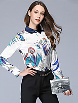 cheap -Maxlindy Women's Daily Going out Vintage Fall Fall/Autumn Shirt,Floral Shirt Collar Long Sleeves 100% Polyester Thin