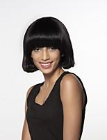 Недорогие -жен. Человеческие волосы без парики Черный Medium Auburn Средний Естественные волны