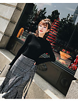 Women's Going out Casual Winter Fall Sweater Skirt Suits,Solid Plaid/Check Crew Neck Long Sleeves Spandex