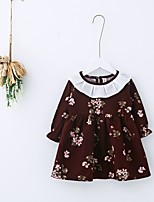 Girl's Holiday Floral Dress,Cotton Polyester Spring Fall Long Sleeves Cute Casual Blue Wine