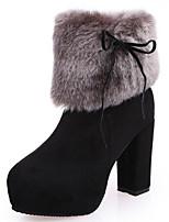 preiswerte -Damen Schuhe Nubukleder Herbst Winter Komfort Schneestiefel Stiefel Für Normal Schwarz Blau