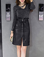 Women's Daily Going out Boho Winter Fall Sweater Skirt Suits,Solid Round Neck Long Sleeve Polyester Stretchy