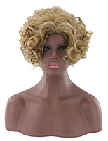 Women Synthetic Wig Capless Short Kinky Curly Afro Curly Blonde Natural Hairline Party Wig Halloween Wig Natural Wigs Costume Wig