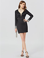 Sheath / Column V-neck Short / Mini Jersey Cocktail Party Dress with Beading Sash / Ribbon by TS Couture®