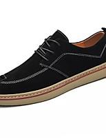 Для мужчин обувь Натуральная кожа Наппа Leather Весна Осень Удобная обувь Туфли на шнуровке Назначение Повседневные Черный Серый Хаки