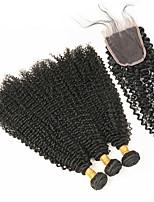 Недорогие -Натуральные волосы Реми Бразильские волосы Человека ткет Волосы модный Крупные кудри Наращивание волос 4шт Черный