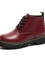 abordables -Mujer Zapatos PU Invierno Otoño Botas de Combate Botas Dedo redondo Botines/Hasta el Tobillo Para Casual Negro Rojo
