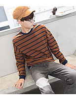 cheap -Men's Daily Going out Sweatshirt Color Block Round Neck Micro-elastic Polyester Long Sleeves Autumn/Fall Spring