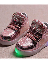 cheap -Girls' Shoes Leatherette Winter Fall Comfort Sneakers Walking Shoes Lace-up for Casual Gold Silver Pink