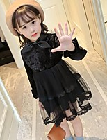 Girl's Solid Dress,Cotton Rayon Polyester Long Sleeves