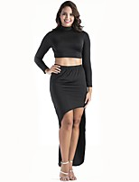 Women's Going out Vintage Spring Fall T-shirt Skirt Suits,Solid High Neck Long Sleeves Cut Out Polyester Cotton Blend Micro-elastic