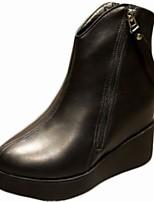 abordables -Femme Chaussures Polyuréthane Hiver Confort Bottes à la Mode Bottes Bout rond Bottine/Demi Botte Pour Décontracté Noir
