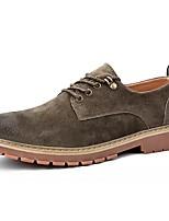 Для мужчин обувь Свиная кожа Полиуретан Осень Зима Удобная обувь Туфли на шнуровке Шнуровка Назначение Повседневные Черный Желтый Хаки