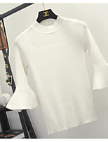 Standard Pullover Da uomo-Casual Tinta unita Rotonda Manica lunga Cotone Medio spessore Media elasticità