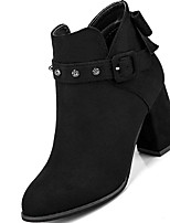 cheap -Women's Shoes Nubuck leather Winter Combat Boots Boots Chunky Heel Pointed Toe Mid-Calf Boots Bowknot For Casual Khaki Black