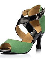 Women's Latin Leatherette Sneaker Professional Stiletto Heel Green Customizable